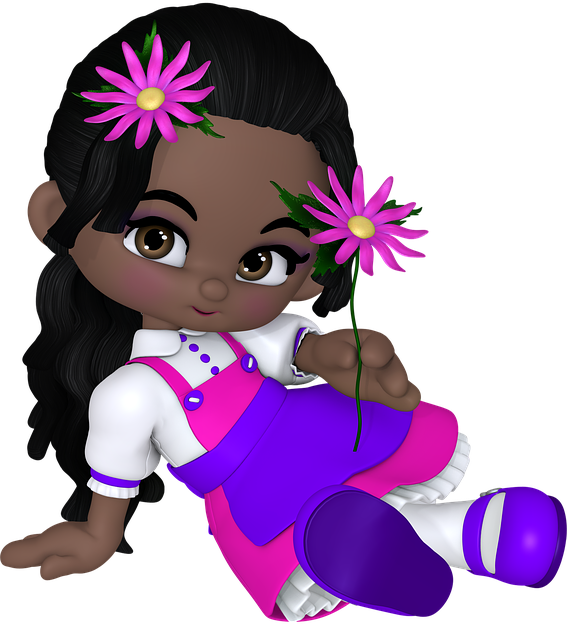 Flower power girl with flowers